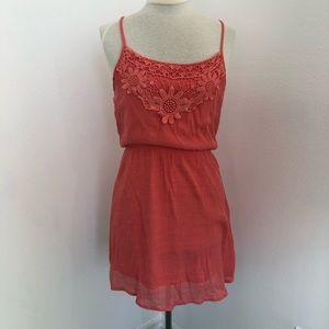 Light Orange Poetry Dress Floral Lace Size L